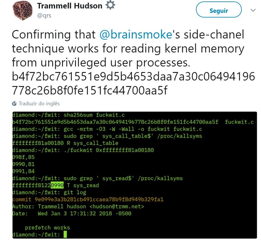 Meltdown e Spectre. Vulnerabilidades afetam processadores Intel, AMD e ARM_Tweet2.png
